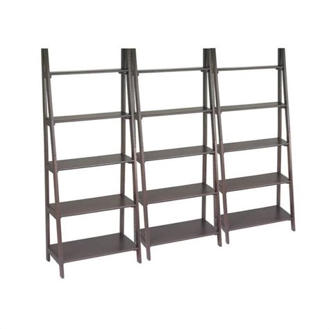 Espresso Ladder Bookcase Set In Espresso Es21 Pkg Espresso Ladder Bookcase