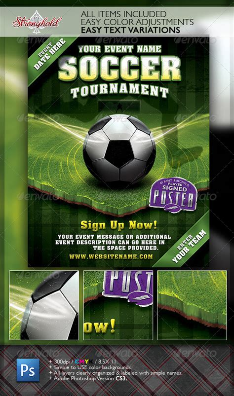 Soccer Tournament Flyer Event Template By Getstronghold Graphicriver Soccer Flyer Template Free