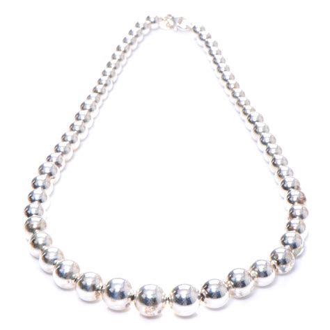 Co Sterling Silver Graduated Bead Necklace 48865