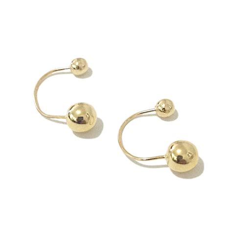 barbell drop dangle 14k solid gold earrings front to back ear