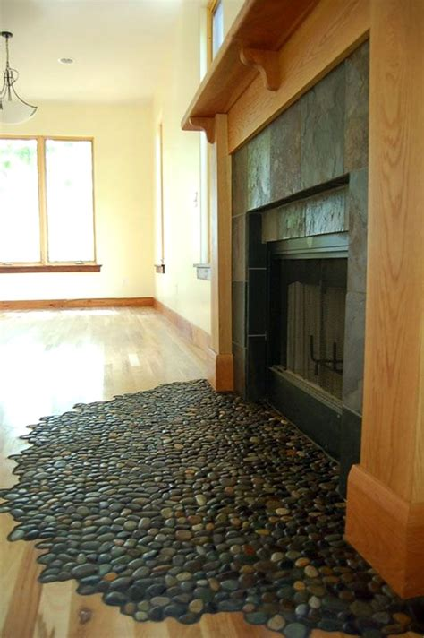 glazed bali ocean pebble tile rustic fireplaces