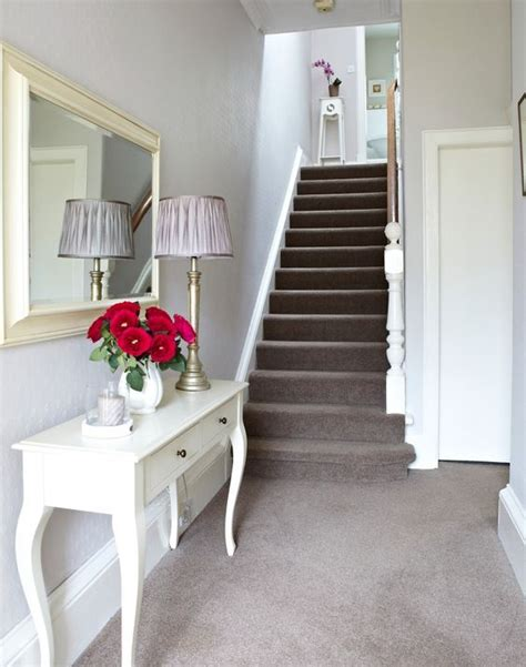 Hallway And Living Room Carpet White Traditional Hallway With Taupe Carpet And