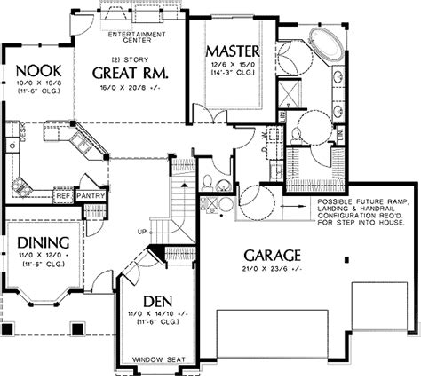 universal design floor plans universal design plan with great room 69337am
