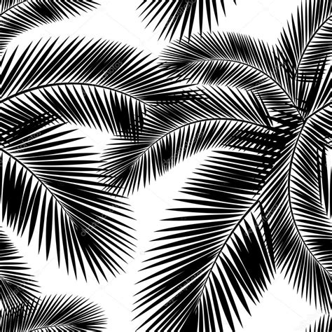 black and white leaf pattern seamless color palm leaves pattern flat style black and