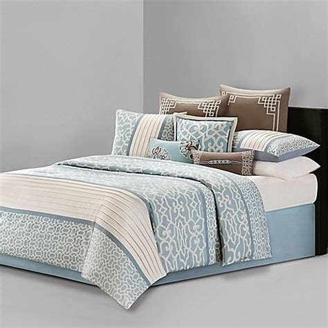 natori bedding n natori 174 fretwork comforter set in aqua www