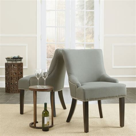 safavieh loire grey linen nailhead dining chairs set of 2