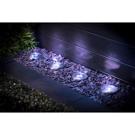 Stainless Steel Ground Lights 4pk Garden Solar Lighting Solar Ground Lights
