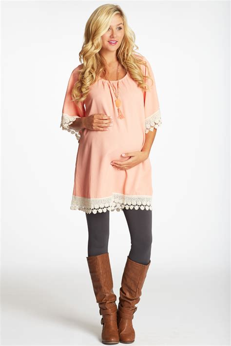 Tunic Light Pink light pink crochet trim maternity tunic