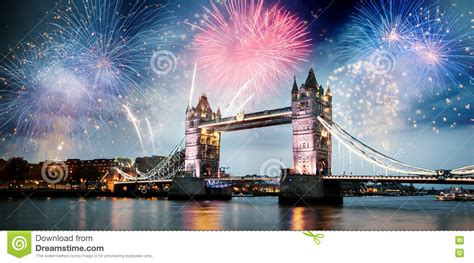 new year s thames river tower bridge with firework celebration of the new year in