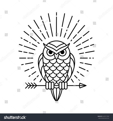 owl outline emblem geometric hipster style stock vector