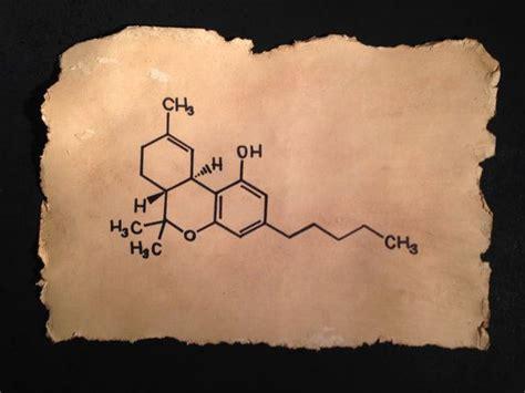 thc molecule tattoo thc molecule tetrahydrocannabinol marajuana vintage