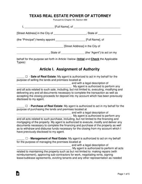 Free Texas Real Estate Power Of Attorney Form Pdf Word Eforms Free Fillable Forms Power Of Attorney Template Ny
