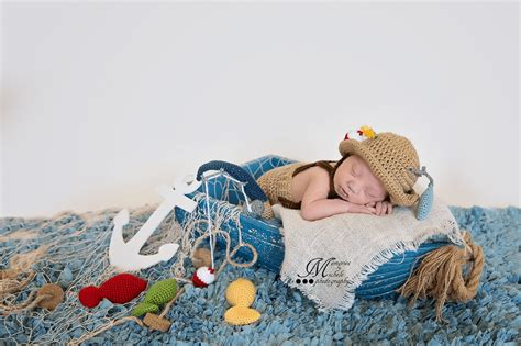 Baby Fishing crochet newborn fisherman pattern amk crochet