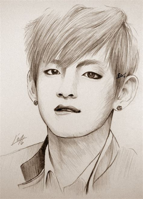V Drawing Bts Easy by Taehyung Sketch By Hejloa On Deviantart