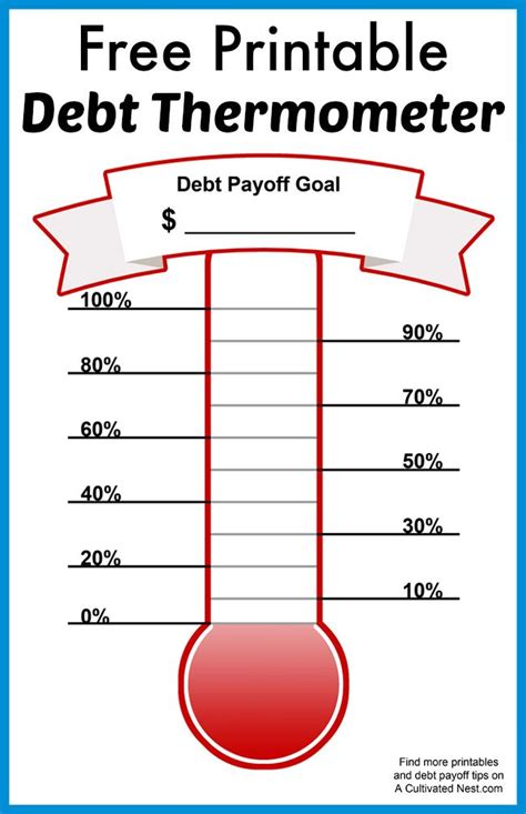 printable debt thermometer living frugally money