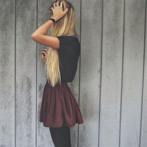 tumblr feminized with long blonde hair skirt burgundy short high waisted fashion red dark