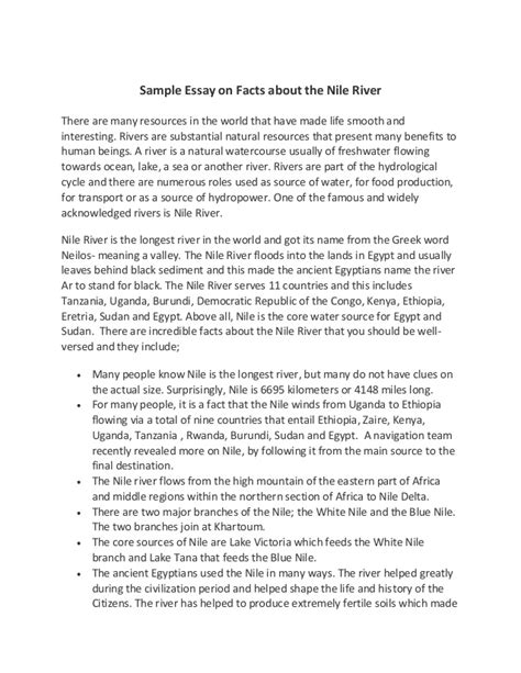 Essay About The by Sle Essay On Facts About The Nile River