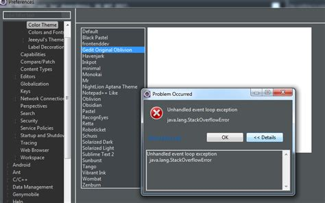 eclipse uninstall themes eclipse color theme unhandled event loop exception java