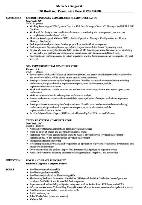 sle resumes for vmware administrator vmware system administrator resume sles velvet jobs