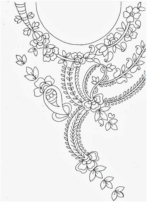 neck pattern sketch embdesigntube amazing embroidery sketch neck patch