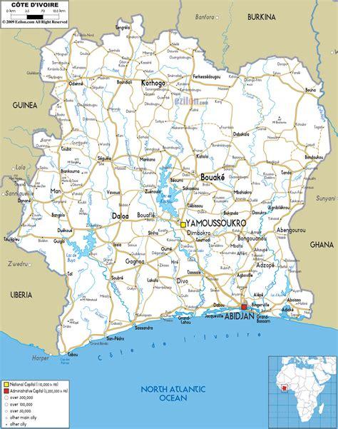 ivory coast on the map detailed clear large road map of ivory coast ezilon maps