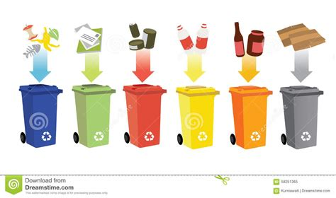 Poubelle Tri Selectif 2 Bacs 1608 by Recycling Bins And Waste Management Stock Vector