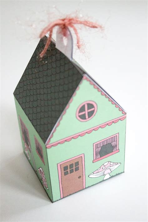printable house shaped box printable elf house gift box bee s knees industries