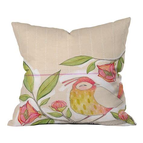 cori dantini bird on a flowery branch throw pillow