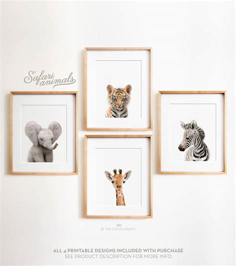 Jungle Nursery Decor Safari Nursery Decor Set Printable Safari Animals Decor