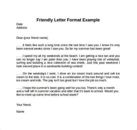 template for a friendly letter sle friendly letter format 7 free documents