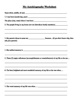 biography and autobiography for middle school student autobiography worksheet by cline creations for