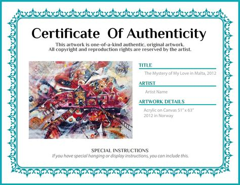 artist certificate of authenticity template certificate of authenticity agora gallery advice