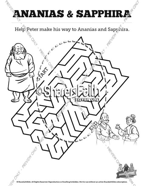 Acts 5 Coloring Pages by Acts 5 Ananias And Sapphira Bible Mazes Bible Mazes
