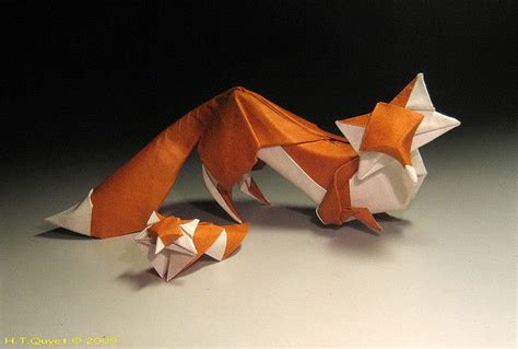 Origami Fox Advanced - two origami foxes free diagram