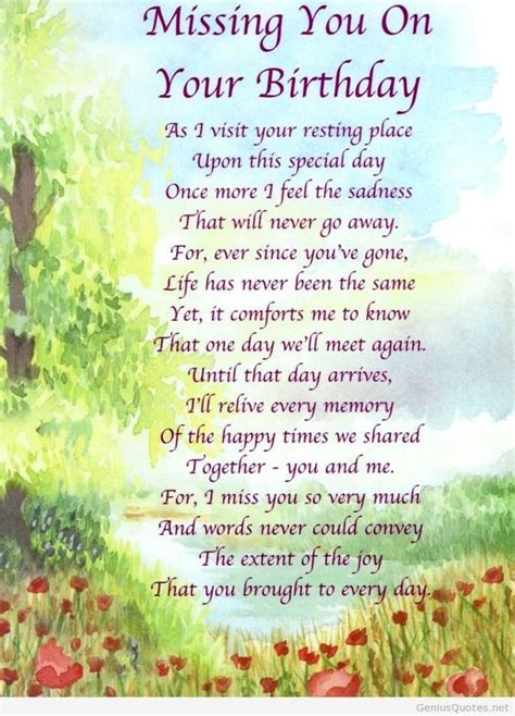 Missing Birthday Quotes Missing You On Your Birthday Quotes Pinterest