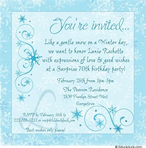 wording 70th birthday invitations 70th birthday invitation chic stylish snowflakes