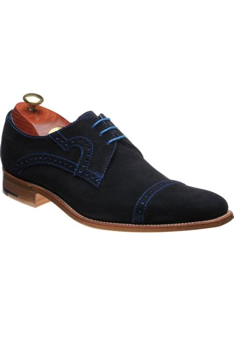 Navy Blue Suede Barker Rebus Shoes Navy Blue Suede Accessories Shoes