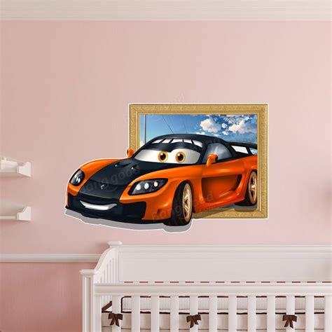 car wall stickers for boys 3d room decoration sports car wall decals boys room removable paper stickers at banggood