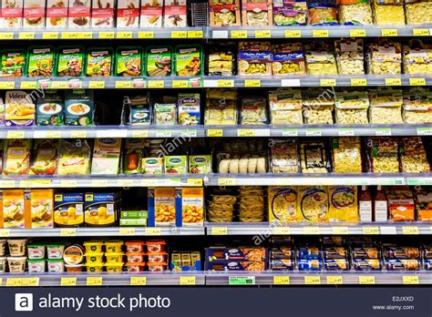 Shelf Of Refrigerated Foods by Shelf With Food In A Supermarket Refrigerated Ready To Eat Meals Stock Photo Royalty Free
