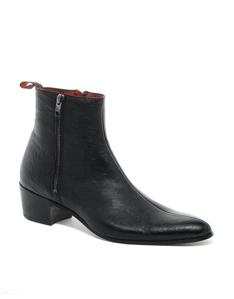 jeffery west 2 zip cuban heel boots in black for lyst
