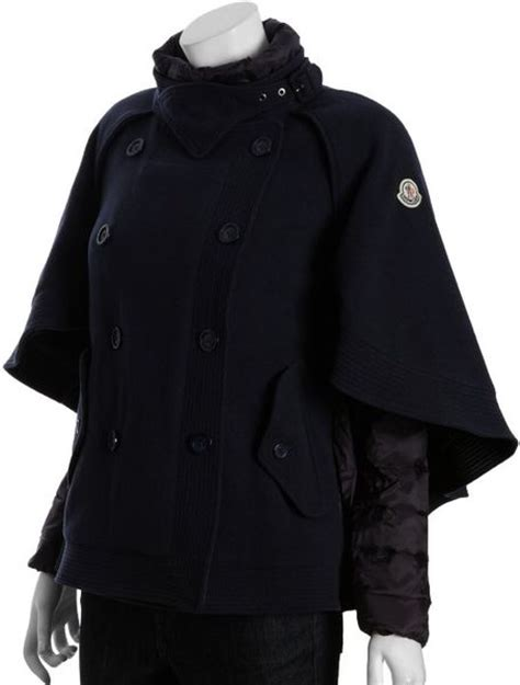 wool blend cape coat moncler navy wool blend double breasted cape coat in blue