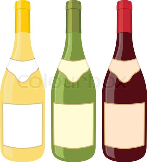 cartoon wine bottle yellow green and red wine bottle illustration on white