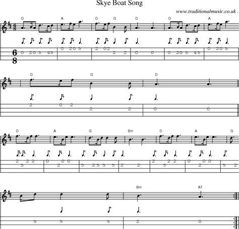 skye boat song in g scottish tune sheetmusic midi mp3 mandolin tab and pdf