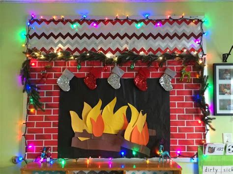 Fireplace Bulletin Boards by Happy Holidays Bulletin Board With Working Lights