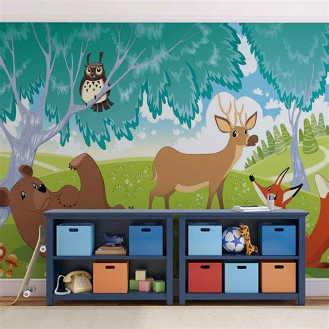 animal wall murals animals in forest wall paper mural buy at europosters