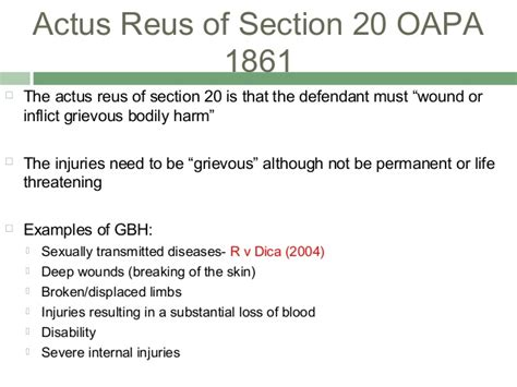 section 20 oapa lecture 8 non fatal offences