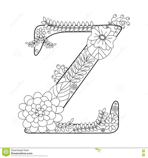 z coloring book for and adults 40 illustrations books letter z coloring book for adults vector stock vector