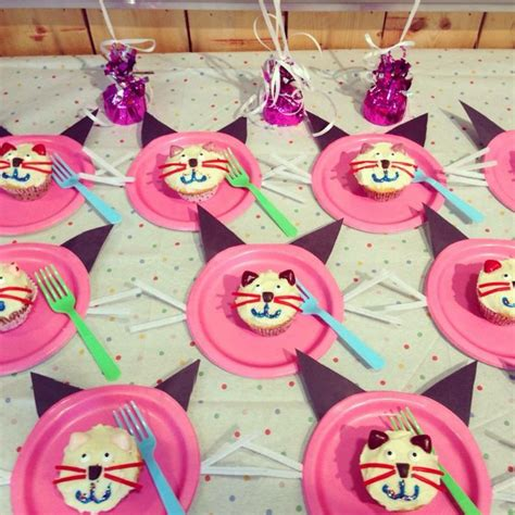 cat themed birthday decorations my s cat themed 8th birthday cat cupcakes