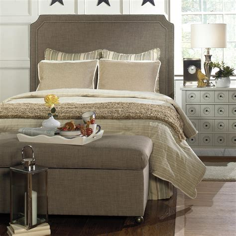 upholstered storage headboard upholstered headboard with nailhead trim a simple way to