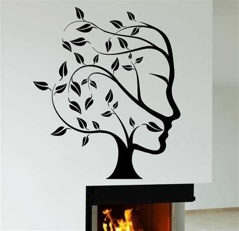 design graphics wall decor abstract nature tree woman face wall sticker creative art